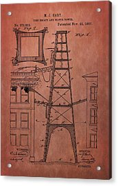 Fire Escape And Water Tower Patent Fireman Acrylic Print