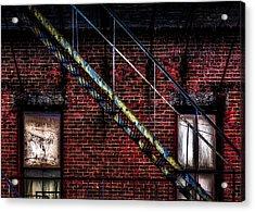 Fire Escape And Windows Acrylic Print by Bob Orsillo
