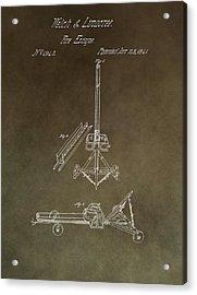 Fire Escape Patent Antique Brown Acrylic Print