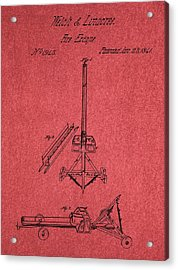 Fire Escape Patent Red Acrylic Print