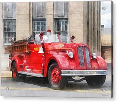 Fire Fighters - Vintage Fire Truck Acrylic Print by Susan Savad