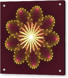 Fire Flower Mandala Acrylic Print by Svetlana Nikolova