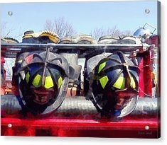 Fire Helmet And Boots Acrylic Print