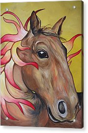 Fire Horse Acrylic Print by Leslie Manley