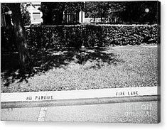 Fire Hydrant No Parking Fire Lane Curb In Residential Area Of Celebration Florida Us Acrylic Print by Joe Fox