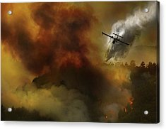 Fire In National Park Of Cilento (sa) - Italy Acrylic Print