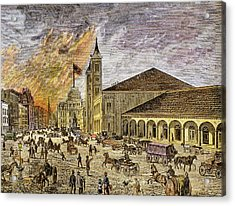 Fire In The City Of Providence In 1886 Acrylic Print