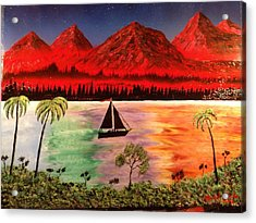 Acrylic Print featuring the painting Fire Mountain by Michael Rucker