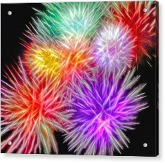 Fire Mums - Fireworks Collage 2 Acrylic Print by Steve Ohlsen