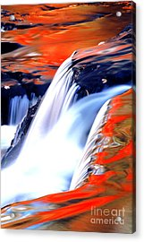 Fire On Water Fall Reflections Acrylic Print by Robert Kleppin