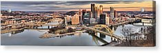 Fire Over The Pittsburgh Skyline Acrylic Print by Adam Jewell