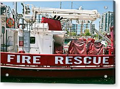 Acrylic Print featuring the photograph Fire Rescue Boat by Marek Poplawski