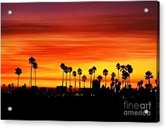 Acrylic Print featuring the photograph Fire Sunset In Long Beach by Mariola Bitner