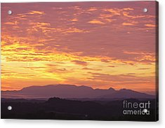 Fire Sunset Over Smoky Mountains Acrylic Print by Kay Pickens