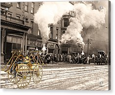 Fire Truck In New York 1890 Collage Acrylic Print