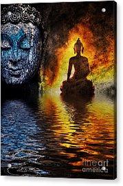 Fire Water Buddha Acrylic Print by Tim Gainey