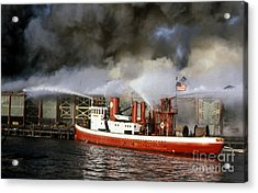Fireboat Harvey In Action Acrylic Print