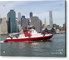 Fireboat Three Forty Three  Fdny With The Nyc Skyline Acrylic Print by Steven Spak