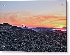 Firefighter At Sunset Acrylic Print by Tony Reddington