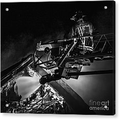 Firefighter At Work Acrylic Print