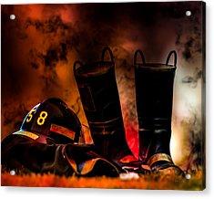 Firefighter Acrylic Print by Bob Orsillo