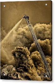 Firefighter-heat Of The Battle Acrylic Print