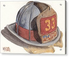 Firefighter Helmet With Melted Visor Acrylic Print by Ken Powers