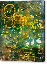 Fireflies Encaustic Acrylic Print