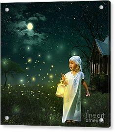 Fireflies Acrylic Print by Linda Lees