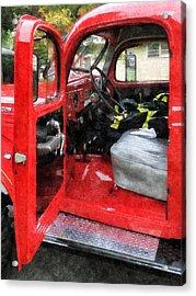 Fireman - Fire Truck With Fireman's Uniform Acrylic Print by Susan Savad