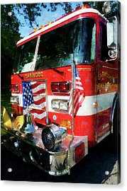 Fireman - Front Of Fire Engine Acrylic Print by Susan Savad