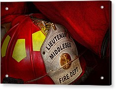 Fireman - Hat - Everyone Loves Red Acrylic Print by Mike Savad