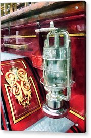 Fireman - Lantern On Old Fire Truck Acrylic Print by Susan Savad