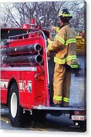 Fireman On Back Of Fire Truck Acrylic Print by Susan Savad