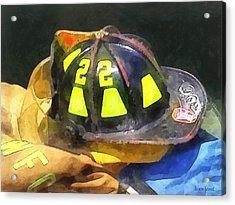 Fireman's Helmet On Uniform Acrylic Print by Susan Savad