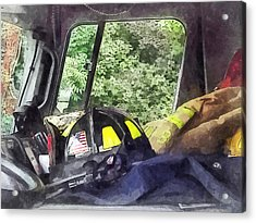 Firemen - Helmet Inside Cab Of Fire Truck Acrylic Print by Susan Savad