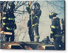 Firemen Acrylic Print by Laurie Search