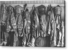 Firemen's Coats Acrylic Print by Jerry Winick