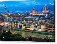 Firenze By Night Acrylic Print by Inge Johnsson