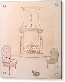 Fireside Kitten Acrylic Print by Christine Corretti