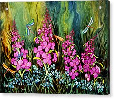 Fireweed And Dragonflies Acrylic Print