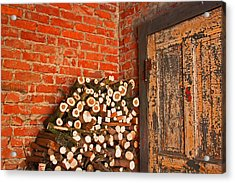 Firewood And Door Acrylic Print