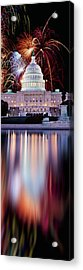 Firework Display Over A Government Acrylic Print by Panoramic Images
