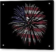 Firework Over Flag Acrylic Print by Robert Graybeal