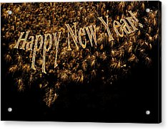 Fireworks 2013 In Elegant Gold And Black Acrylic Print by Marianne Campolongo