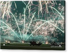 Fireworks And Aircraft Acrylic Print
