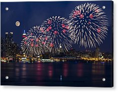 Fireworks And Full Moon Over New York City Acrylic Print by Susan Candelario