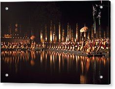 Fireworks At Festival In Thailand Acrylic Print by Richard Berry