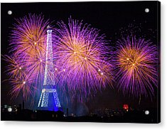 Fireworks At The Eiffel Tower For The 14 July Celebration Acrylic Print by Laurent Lothare Dambreville