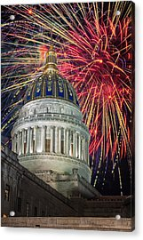 Fireworks At Wv Capitol Acrylic Print